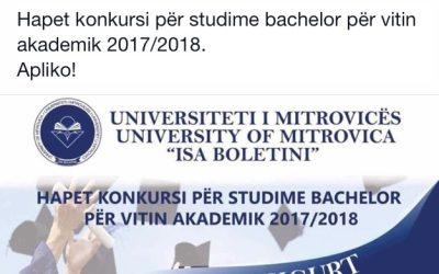 Konkurs Për Pranimin E Studentëve Në Vitin E Parë Të Studimeve Themelore Në Vitin Akademik 2017/2018