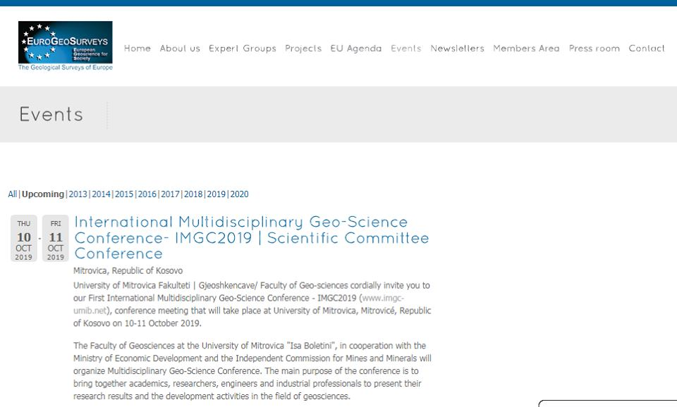 "European Geological Service promotes ""International Geosciences Conference"" to be held at Isa Boletini University"