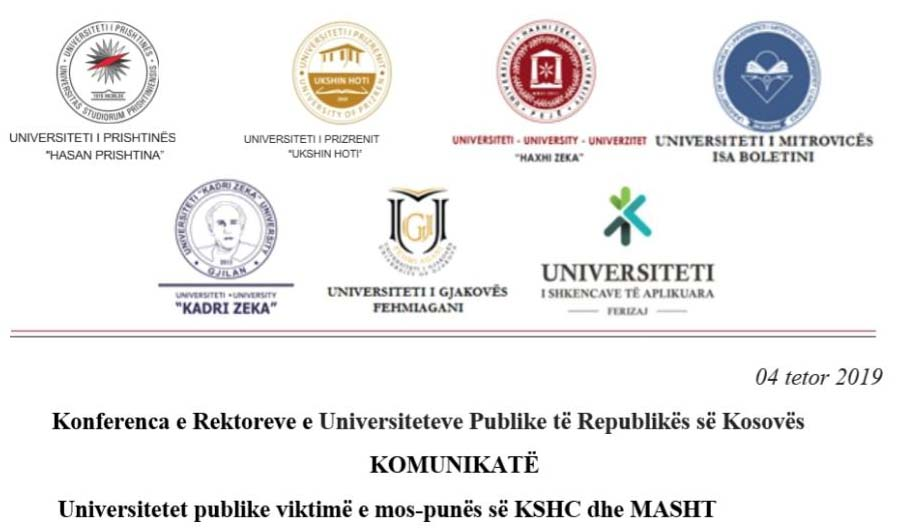 Konferenca e Rektorëve: Universitetet publike viktimë e mospunës së KSHC-së dhe MASHT-it