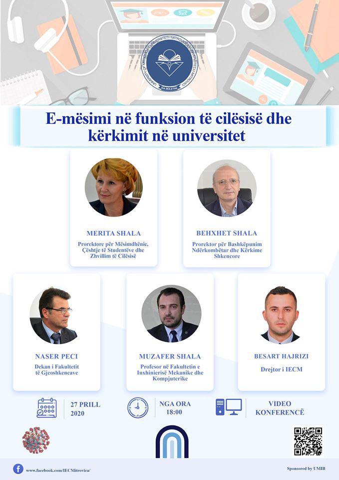 """Ndiqeni live konferencën """"E-mësimi në funksion të cilësisë dhe kërkimit në Universitet"""""""