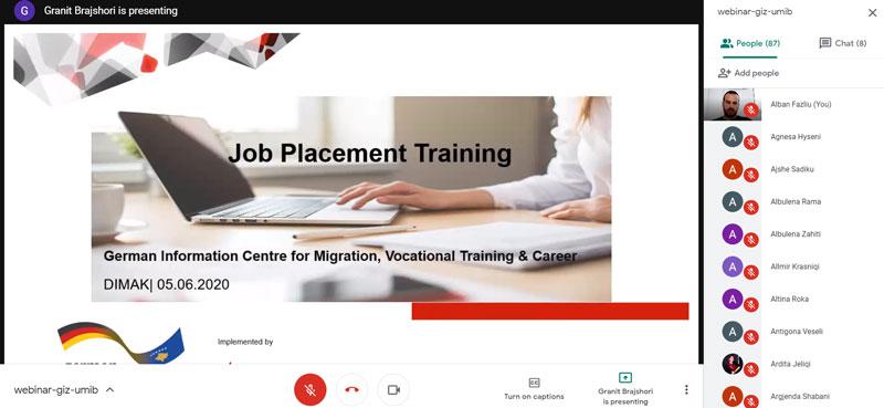 """U mbajt webinari: """"Përgatitja për aplikim për studime postdiplomike dhe punësim"""""""