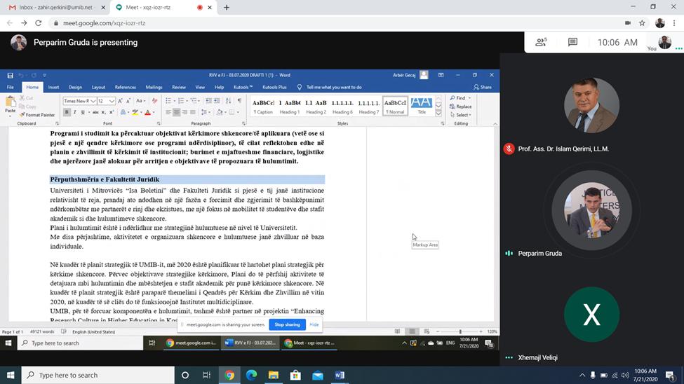 Fakulteti Juridik mbajti takimin e fundit para pushimit veror, përmes Google Meet lidhur me procesin e riakreditimit