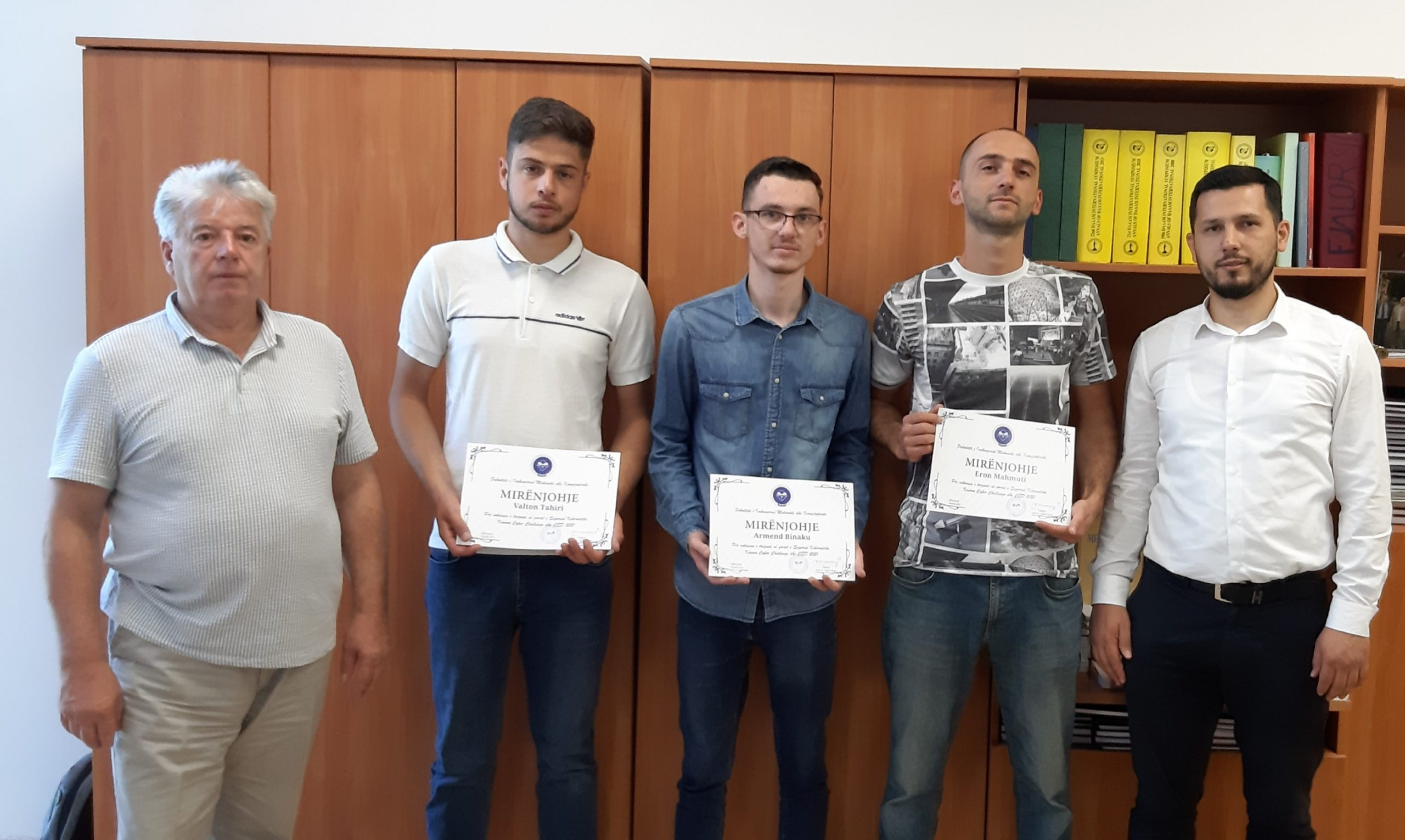 Acknowledgments to the students who won first place in the cyber security competition